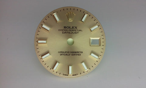 Rolex Ladies Datejust Champagne with Bar Markers for Two-Tone or Gold