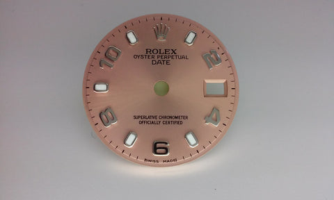 Rolex Ladies Date Salmon with Arabic and Bar Markers for Stainless-Steel