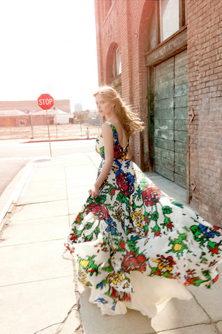 """Game Over"" 8-Bit Digi Flower Gown"