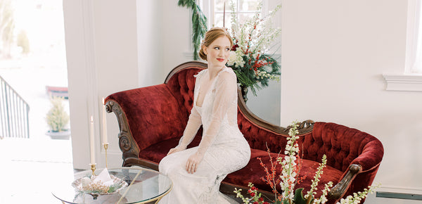 Claire Pettibone Wedding Dresses Featured Winter Wedding Inspiration