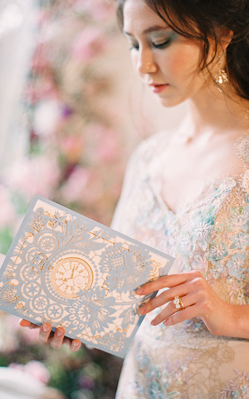 Bride with Wedding Program
