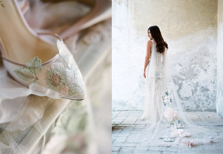Wedding Shoe Frey by Claire Pettibone | Gypsy Rose Wedding Dress