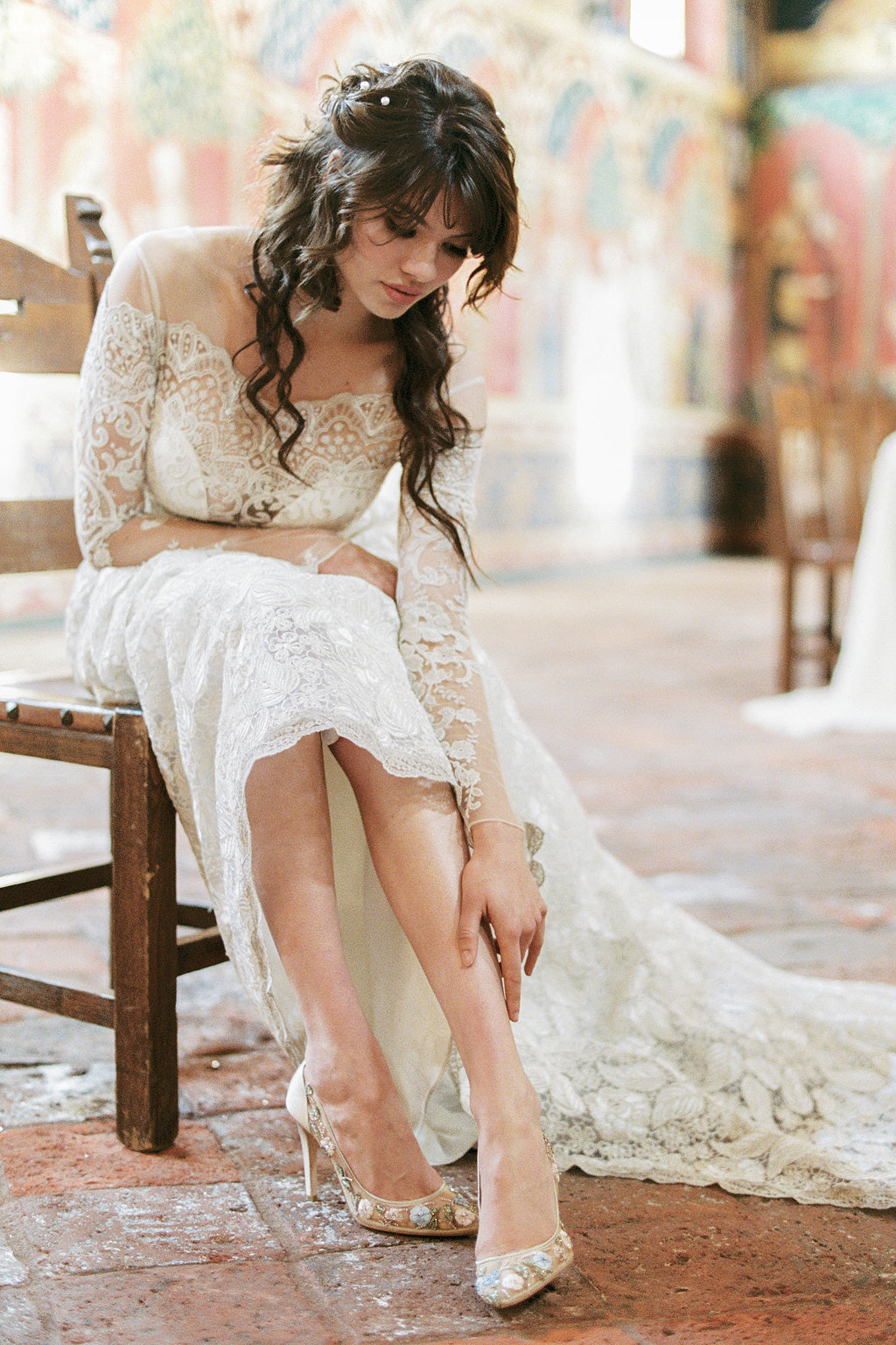Bella Belle featured Shoes Claire Pettibone Voyage Wedding Dress