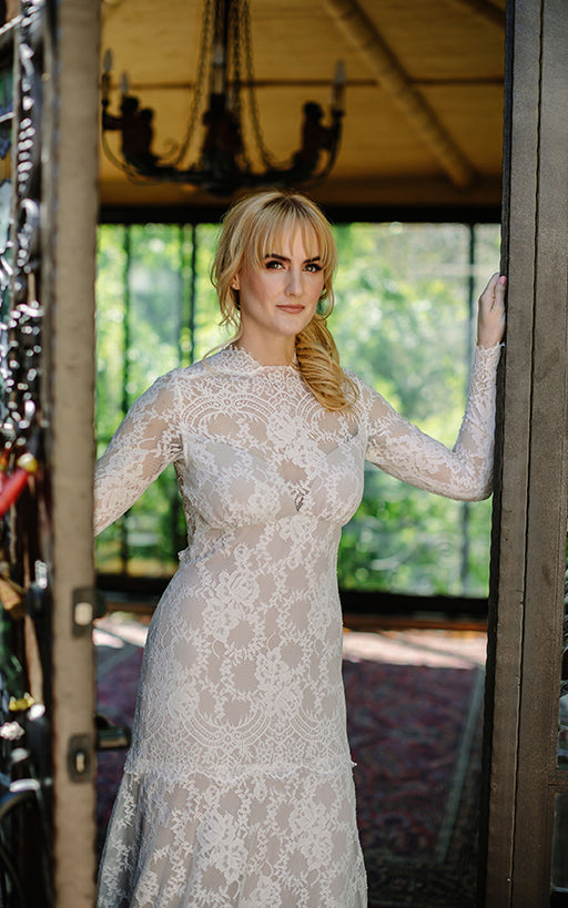 Bride Long Sleeve Lace Wedding Dress
