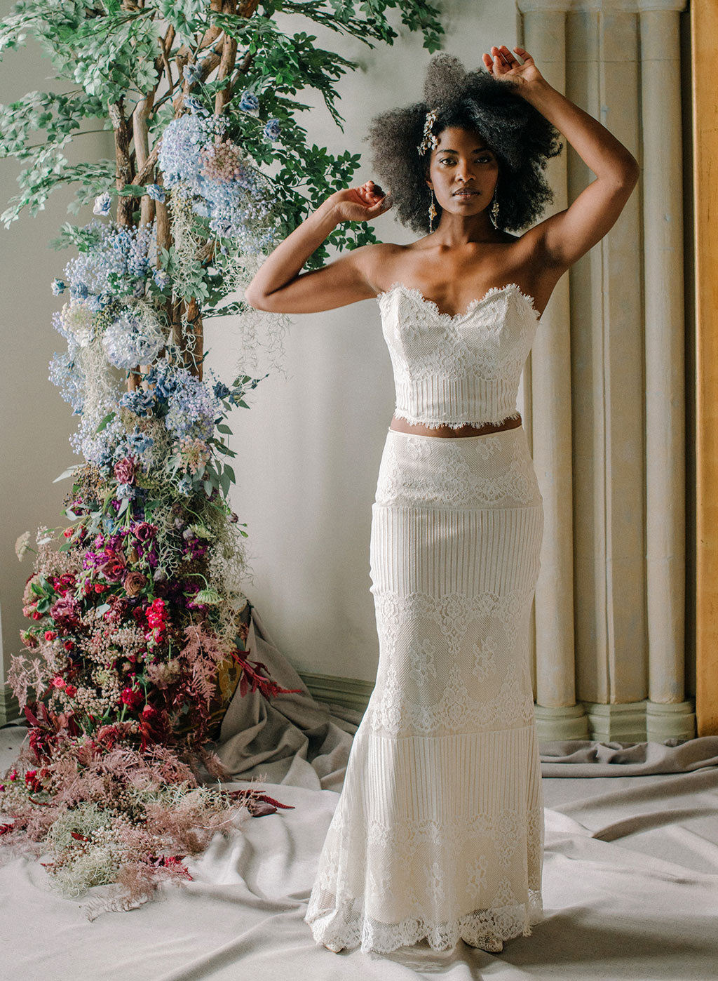 Antoinette Lace Bustier and Long Skirt Claire Pettibone Ready to Wear Bridal Separates