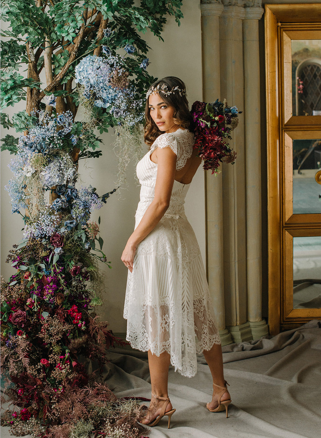 Antoinette HI-Lo Lace Skirt Claire Pettibone Ready to Wear Bridal Separates