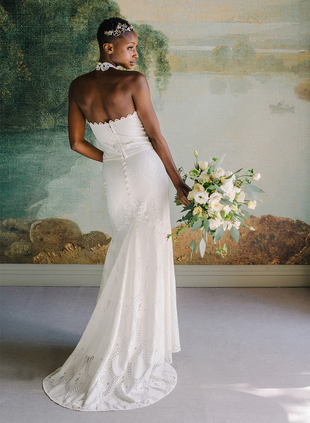 Calypso Lace Halter and Long Skirt Claire Pettibone Ready to Wear Bridal Separates