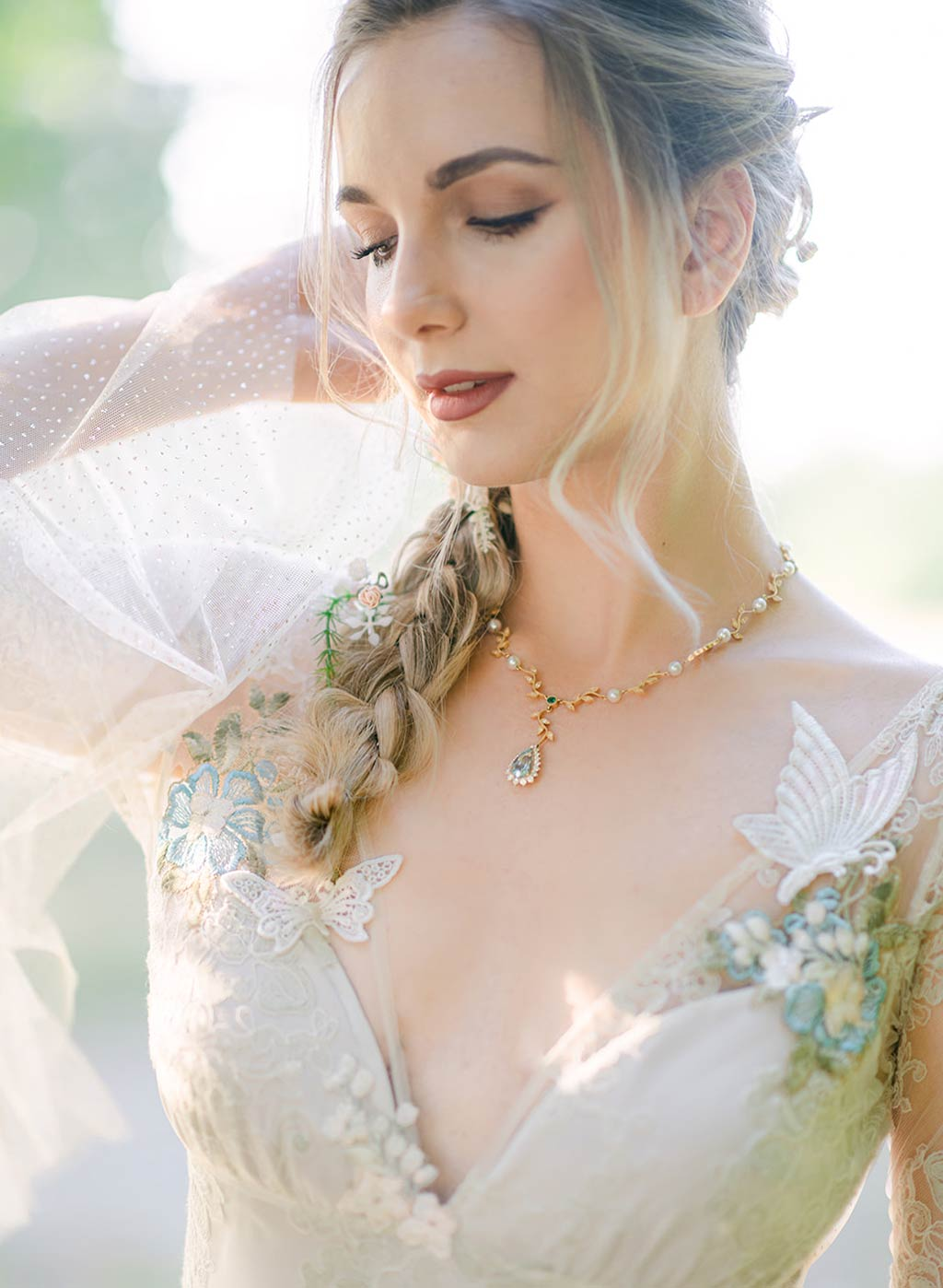 Closeup of Chrysalis Wedding Dress with Butterflies Trims