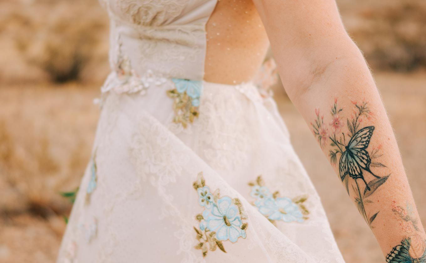 Embroidery Detail Wedding Dress