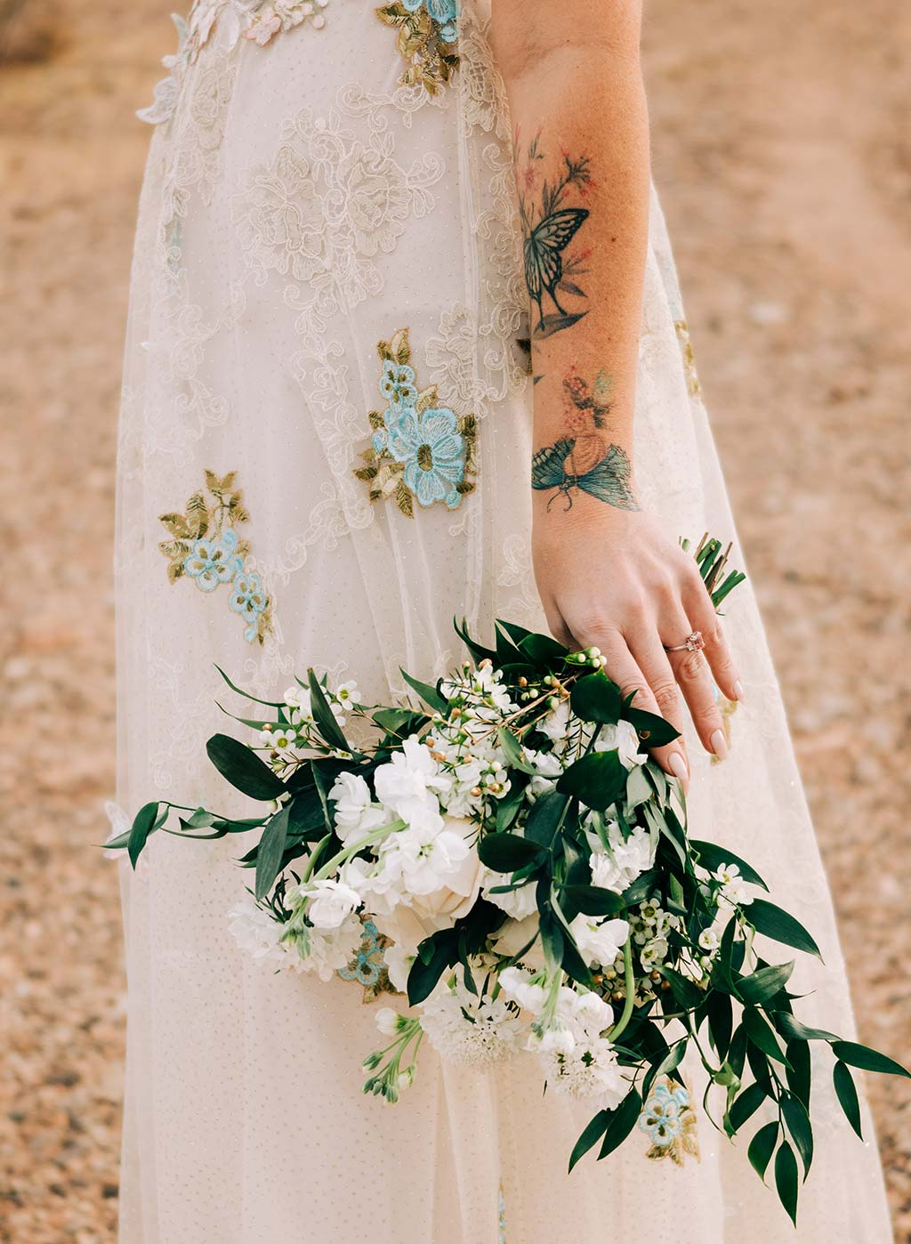 Detail for Chyrsalis embroidered gown by Claire Pettibone