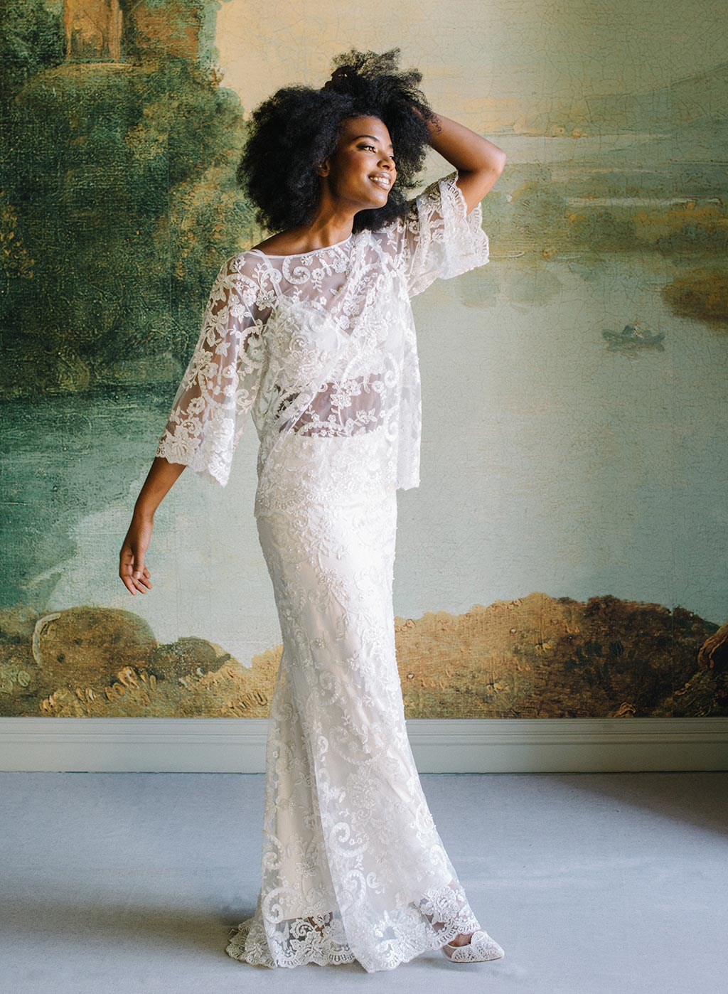 Claire Pettibone Ready to Wear Separates Beaded Skirt and Tunic