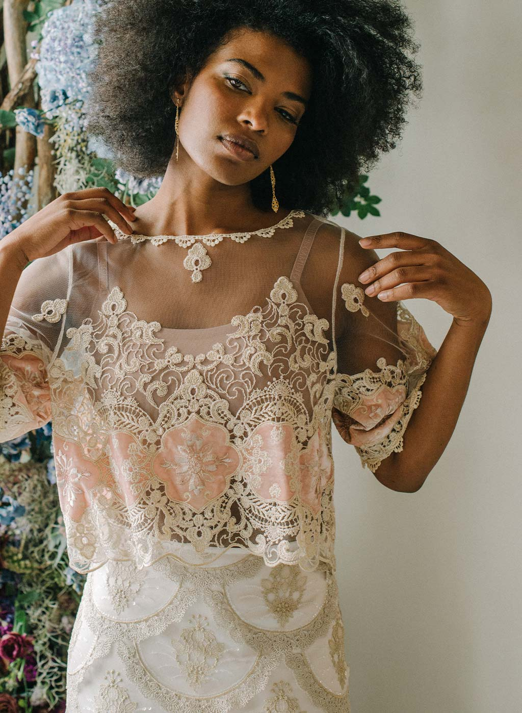 Genevieve Embroidered top with velvet insets