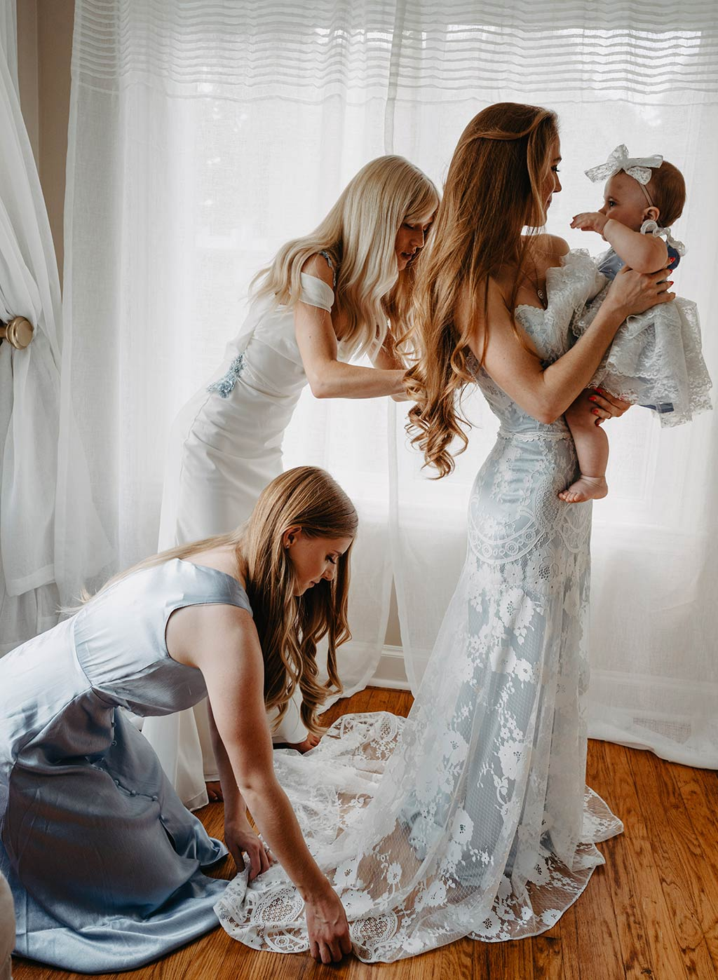 Bride with baby and Maids of honor