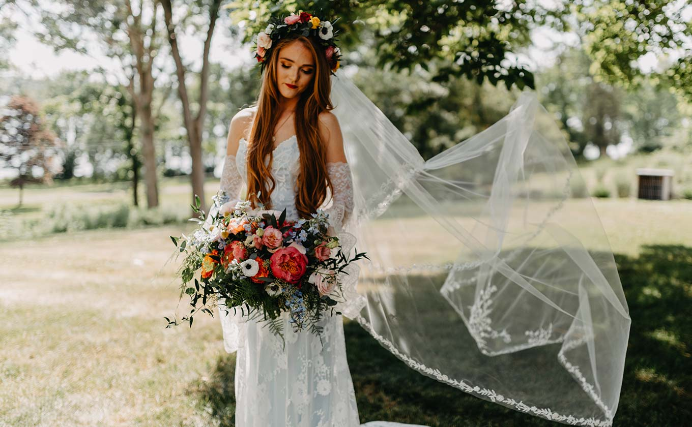 Bride in Wedding Dress with Veil