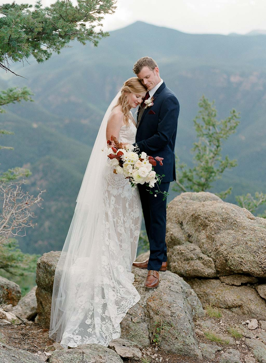 Forrest Wedding Inspiration with Claire Pettibone Lace Weddign Dress Eloise