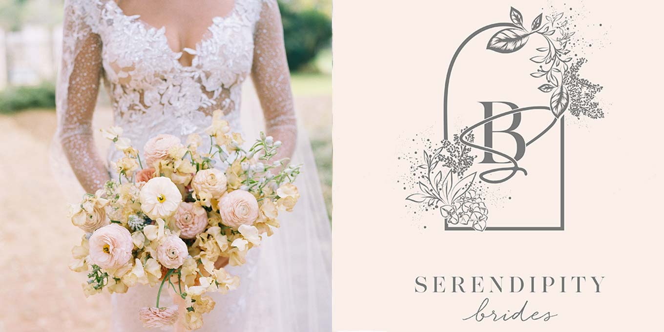Claire Pettibone Stardust Wedding Dress | Serendipity Logo