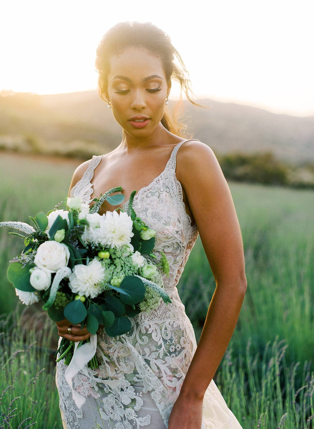 Bride Wearing Wedding Dress  with flowers