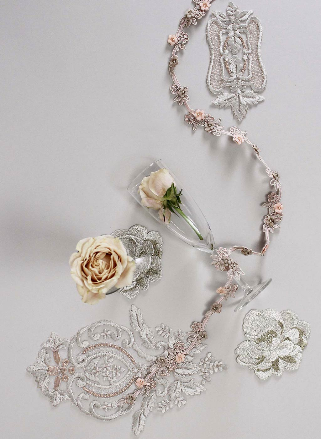 Wedding Glasses with Floral Decorations