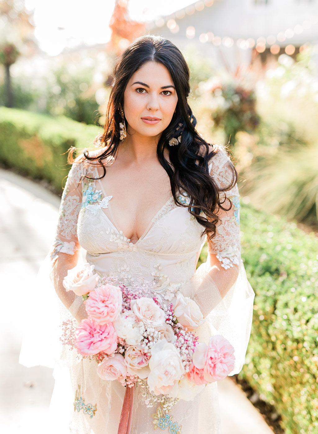 Colorful Embroidered Wedding Dress by Claire Pettibone