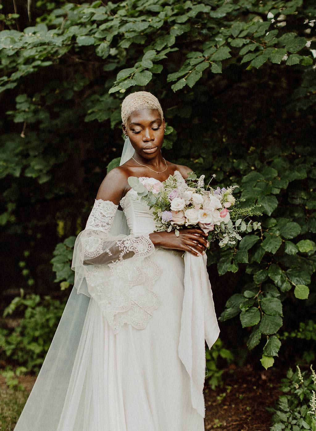 Bride Model with Flower Bouquet