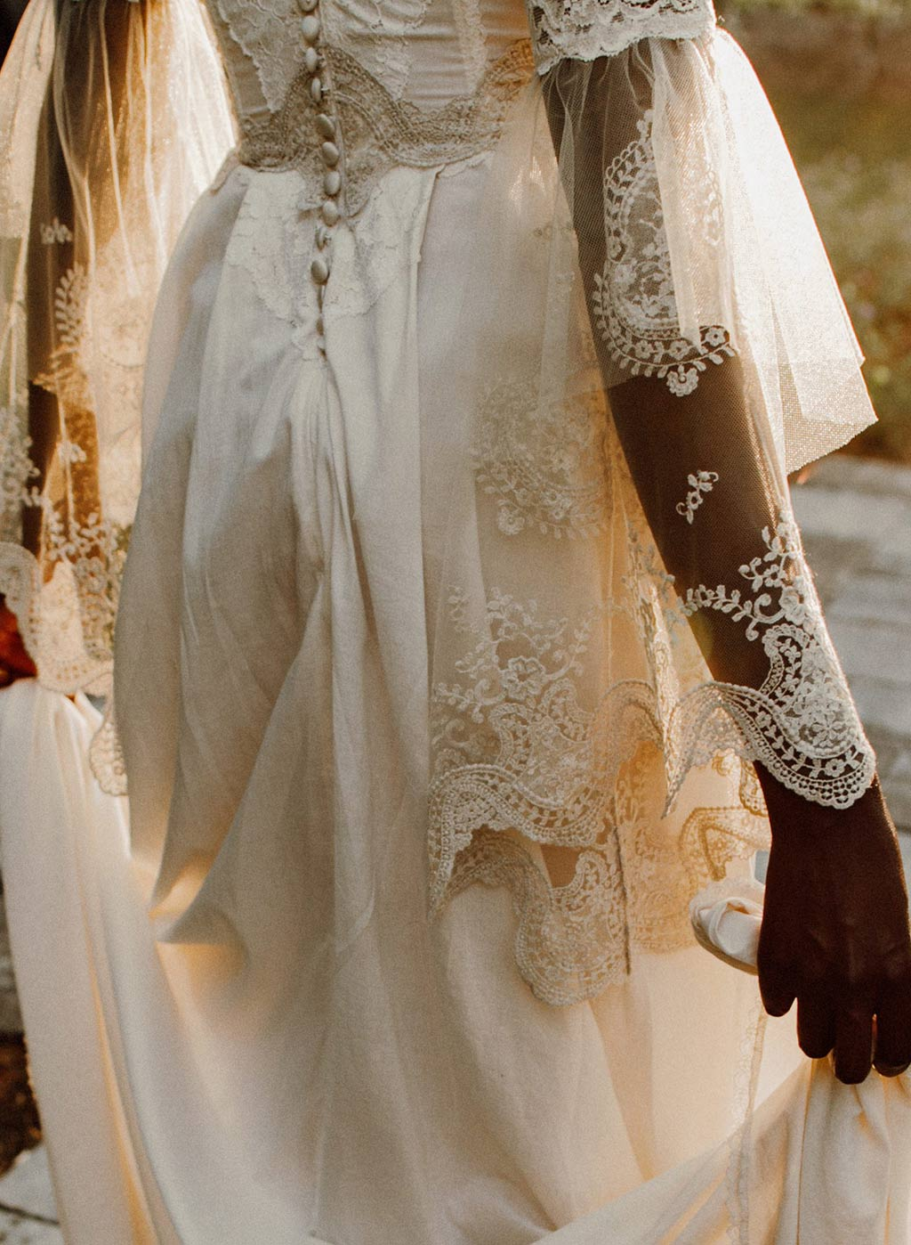 Marie Cotton Wedding Dress Sleeve and Back Detail
