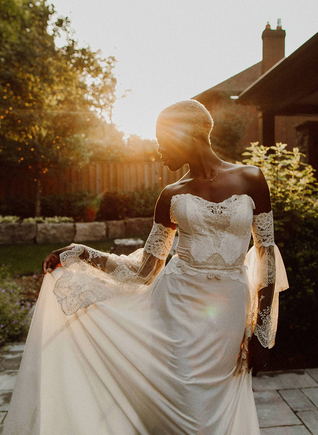 Marie Cotton and Lace Wedding Detail Dress Sunset View