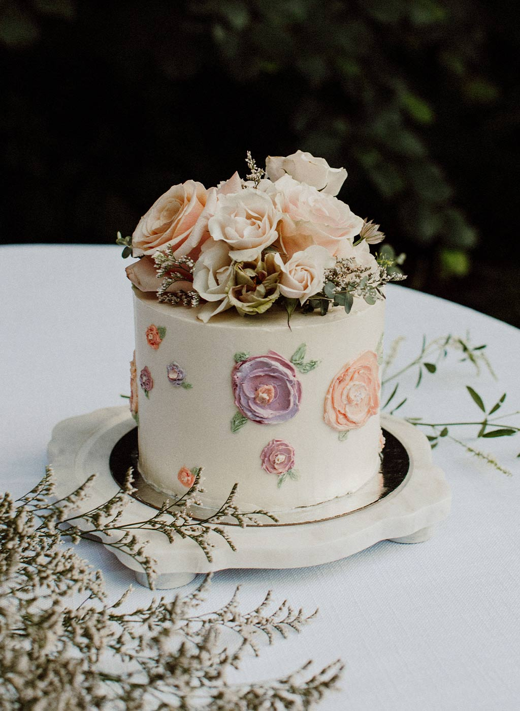 Wedding Cake with Flower Decorations