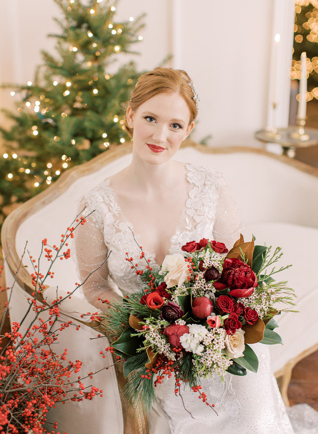 Bride with Red Roses wedding floral arrangment