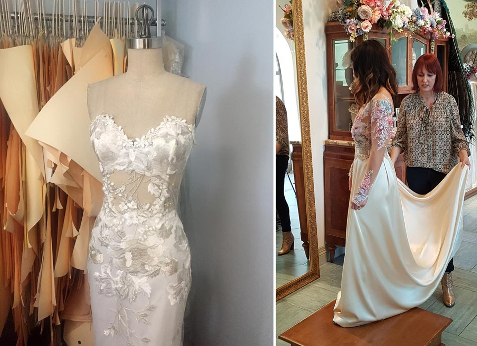 Left: Odessa in work on dress form | Right: Linda Phan & Claire at her fitting