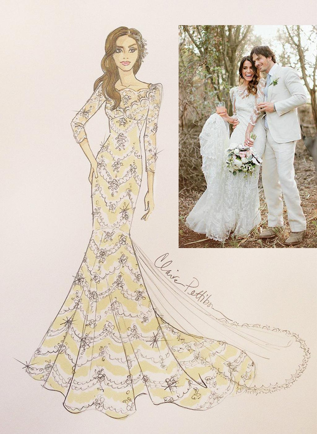 Sketch Custom Gown for Nikki Reed| Inset: Nikki Reed & Ian Somerhalder | Photo: Glass Jar Photography