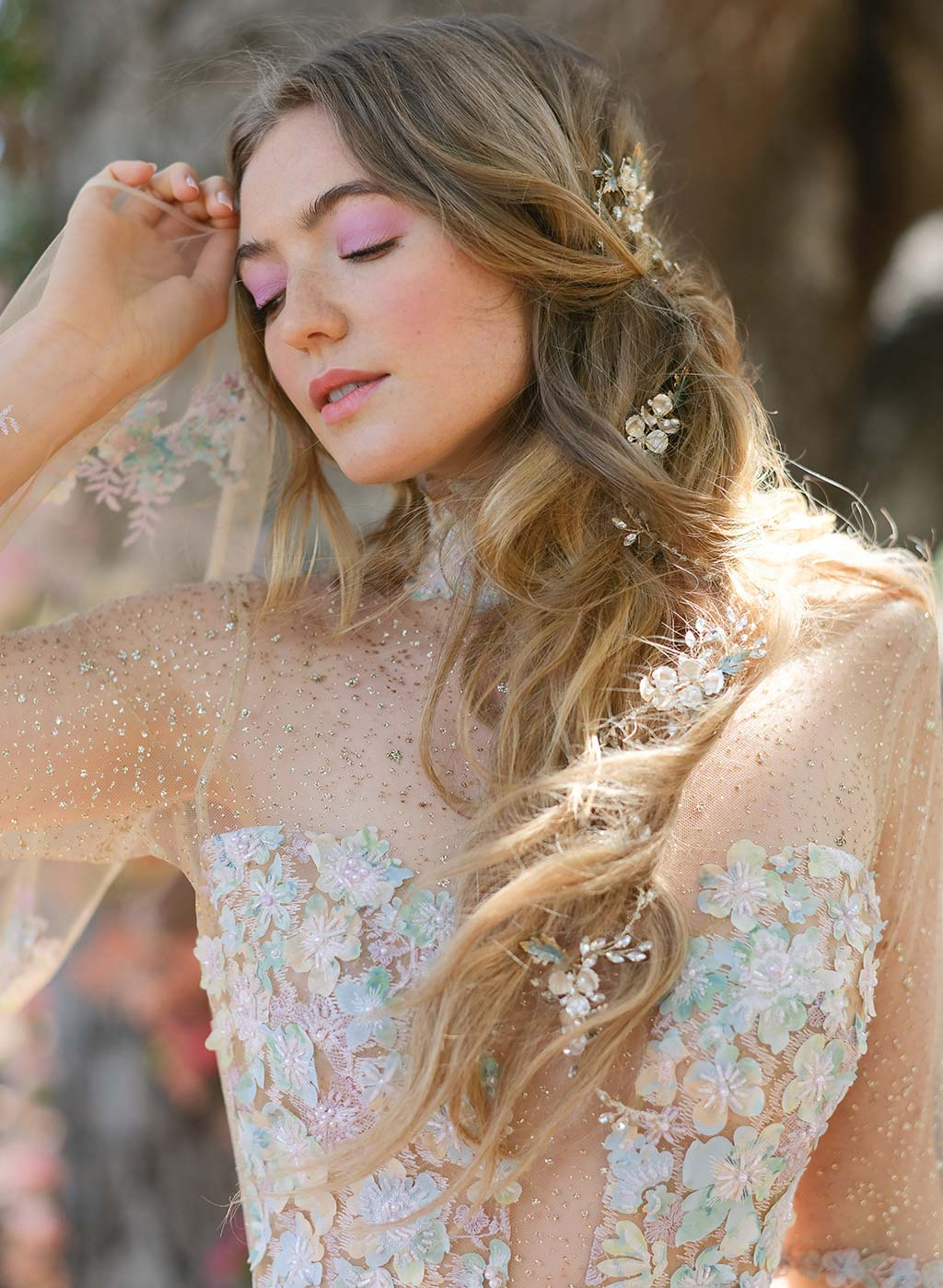 Venus Embroidered Wedding Dress Detail by Claire Pettibone