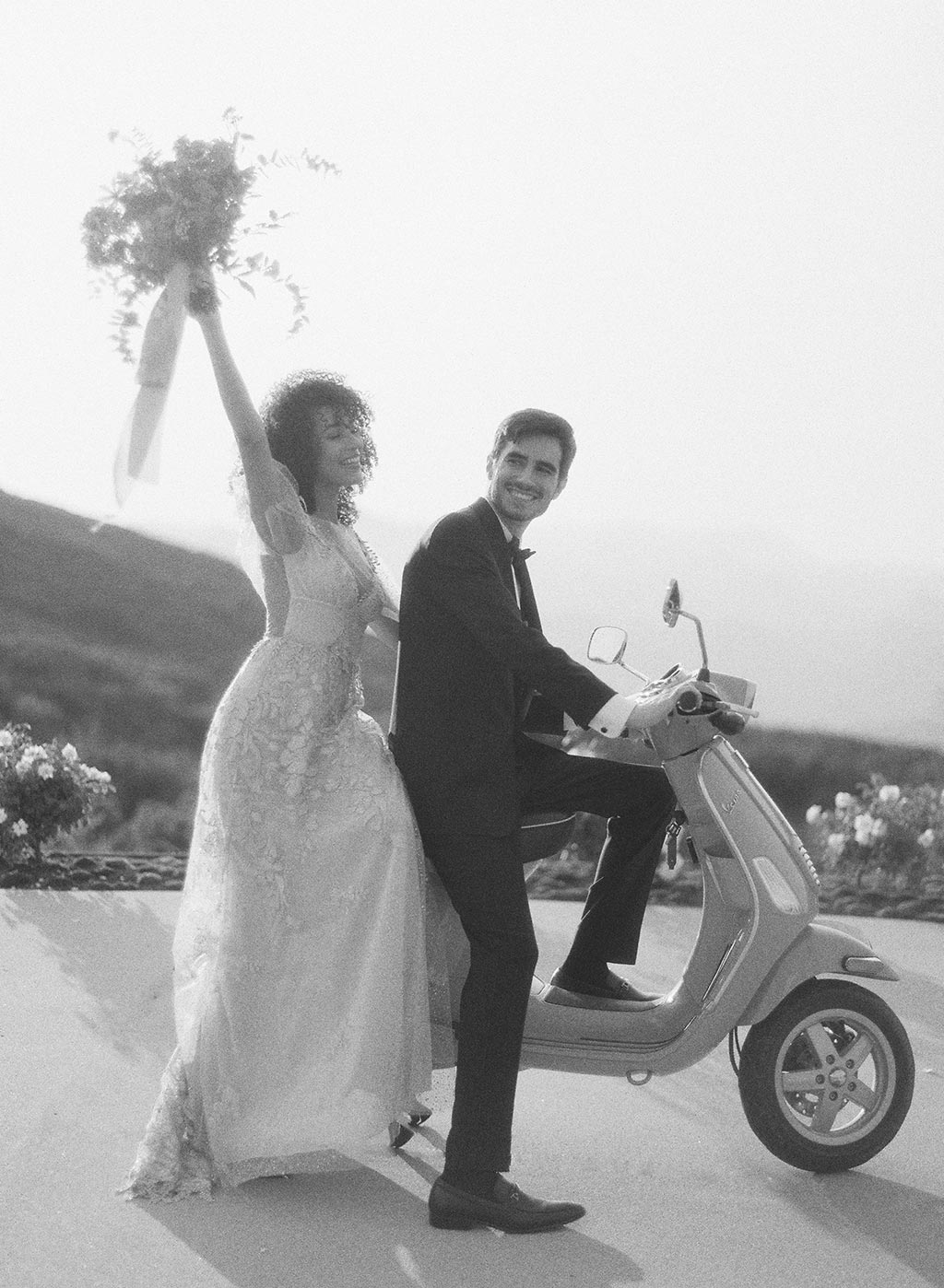 Bride and Groom on Scooter Wedding Inspiration