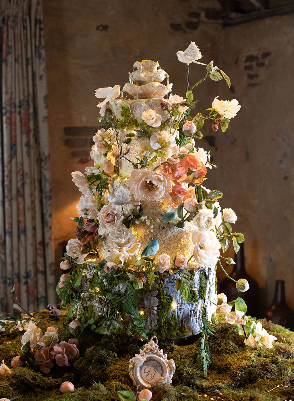 Wedding Cake with lavish floral decorations