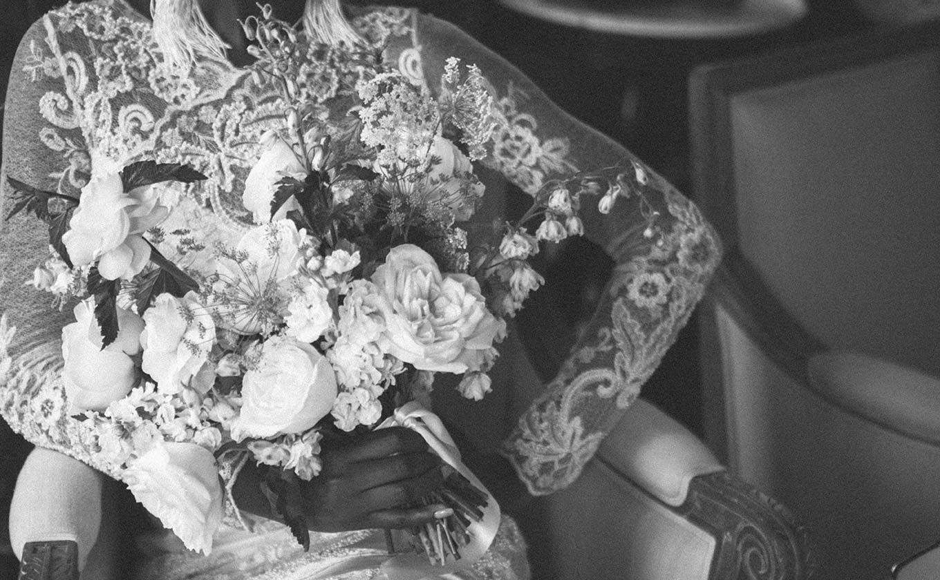 Black and White Picture Wedding Floral Bouquet