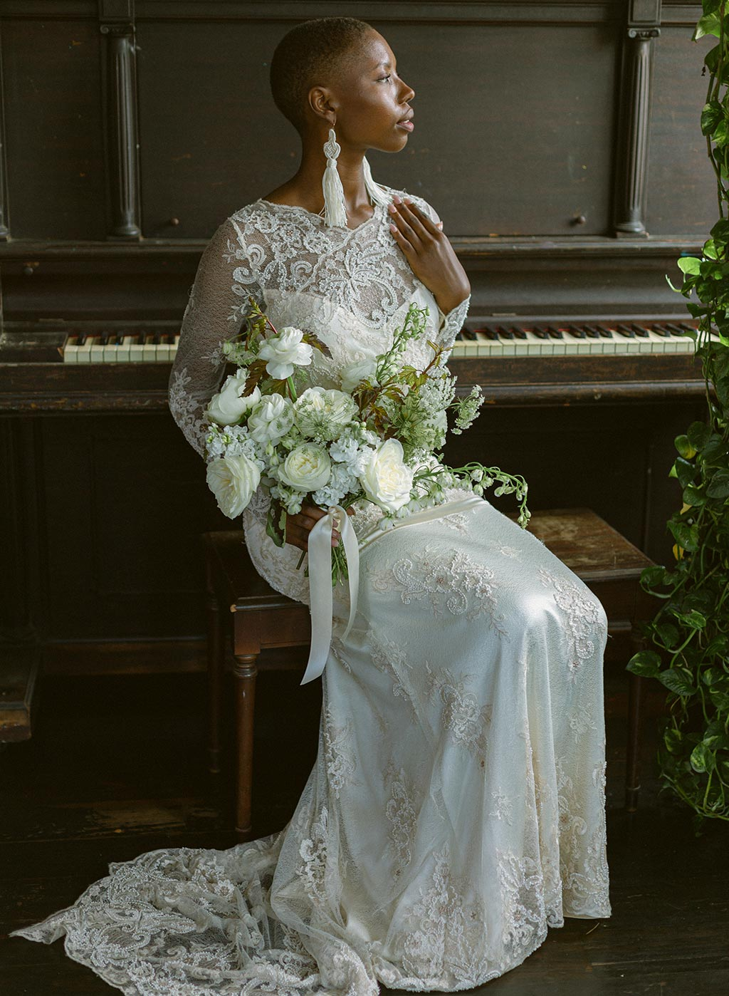 Wedding Dress Model Bride Floral Bouquet