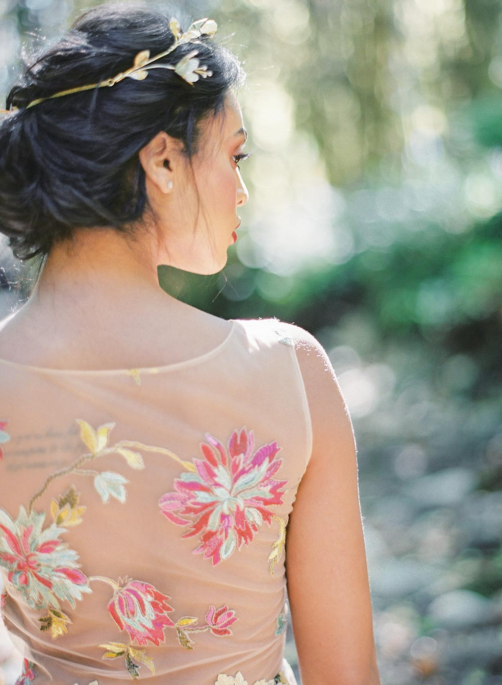 Wedding Dress Detail Back embroidered with multi color