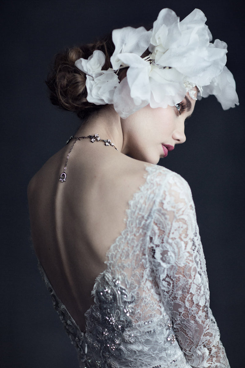 Evangeline - Couture Lace Wedding Dress by Claire Pettibone campaign image back
