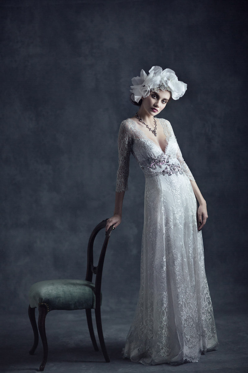 Evangeline - Couture Lace Wedding Dress by Claire Pettibone campaign image full front