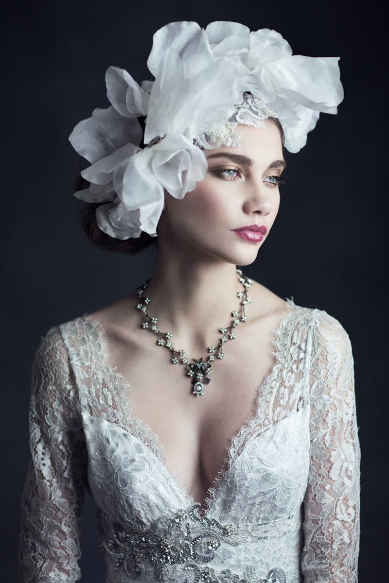 Evangeline - Couture Lace Wedding Dress by Claire Pettibone campaign image front detail