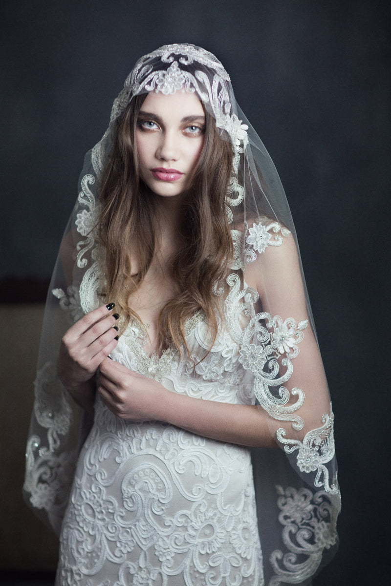 Faith - Couture Wedding Dress by Claire Pettibone campaign front close up