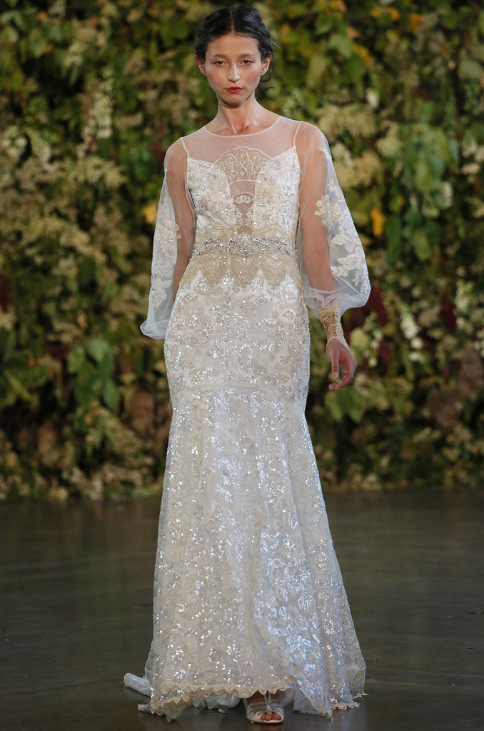 Ariel Sequin Designer Wedding Dress | Claire Pettibone