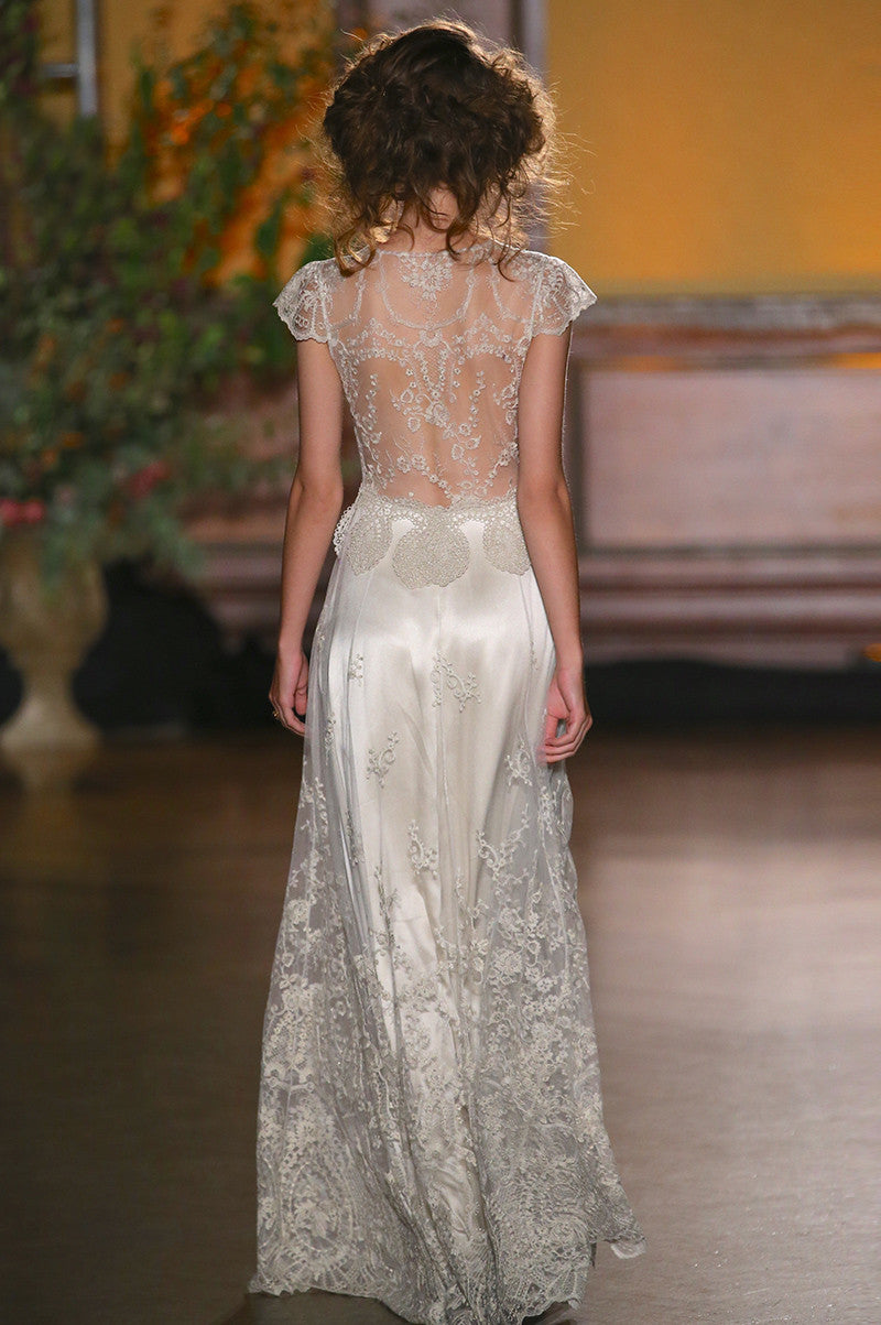 Cora - Couture Wedding Dress by Claire Pettibone runway full back