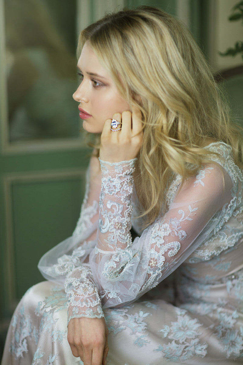 Eliza - Lace Wedding Dress by Claire Pettibone campaign image seated