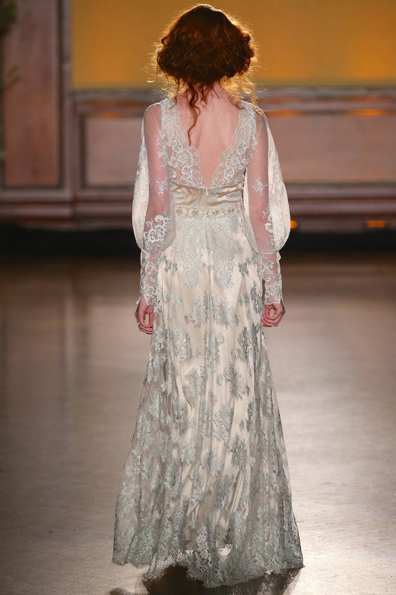 Eliza - Lace Wedding Dress by Claire Pettibone runway full back view