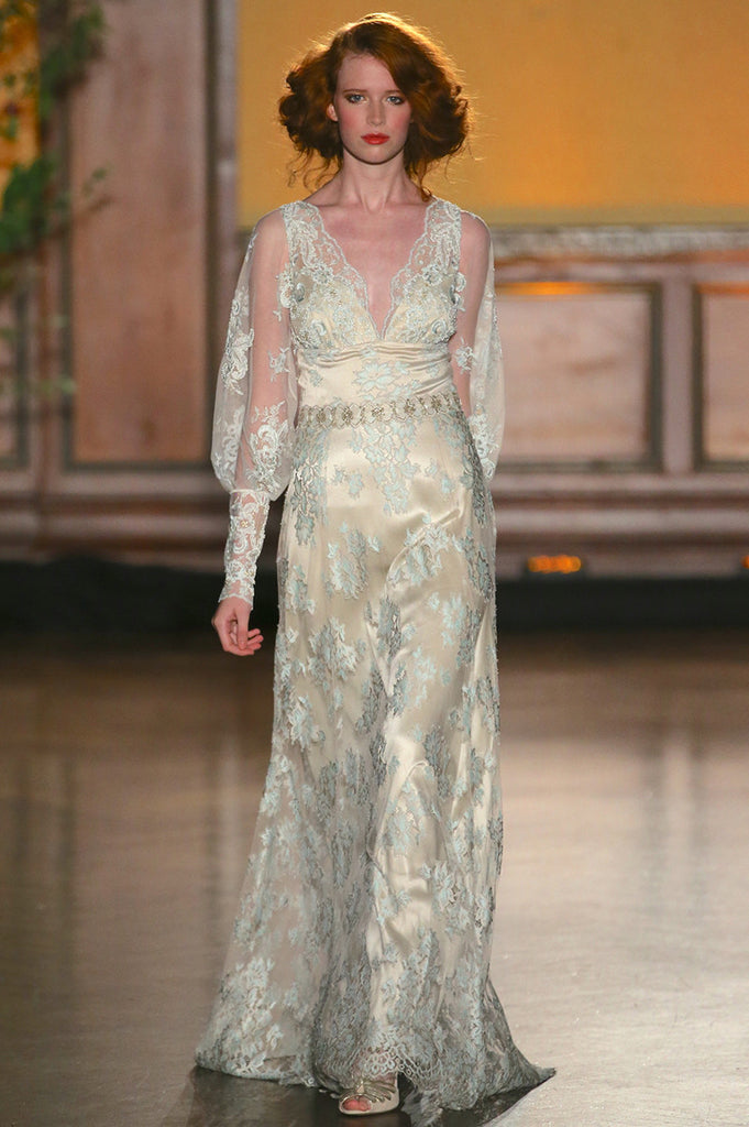 Eliza - Lace Wedding Dress by Claire Pettibone runway full