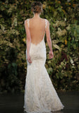 Elizabeth - Couture lace wedding dress by Claire Pettibone runway back