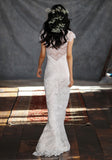 Estelle Lace Bridal Gown Romantique Claire Pettibone back view runway