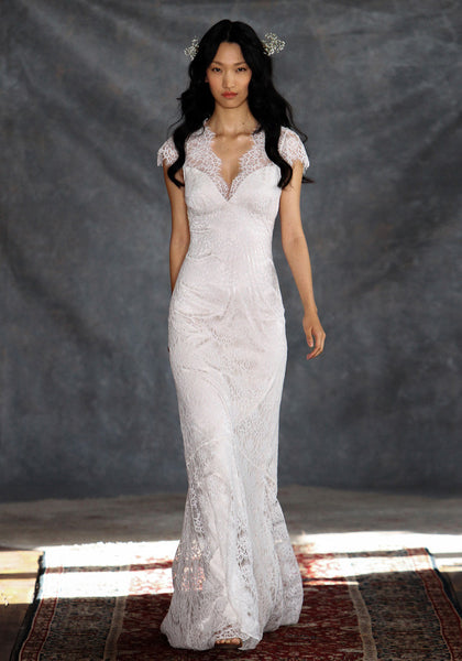 Estelle Lace Bridal Gown Romantique Claire Pettibone front view runway