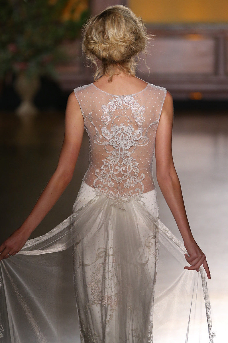 Eva - Wedding Dress by Claire Pettibone runway back close up