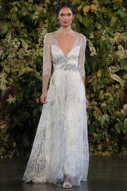Evangeline - Couture Lace Wedding Dress by Claire Pettibone runway full